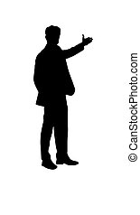 Silhouette of a man with outstretched hand, flat design.