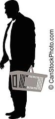 Silhouette of a man with shopping basket