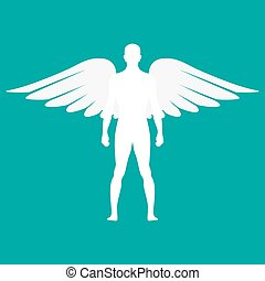 Silhouette of a man with wings in white color. Vector illustration