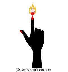 Silhouette of a manicured hand with a flame on the nail of the index finger.