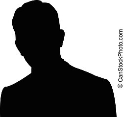 Silhouette of a mans head in black,