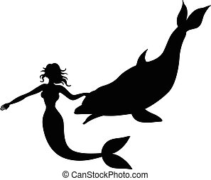 Silhouette of a mermaid and dolphin
