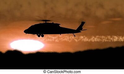 """""""Silhouette of a military helicopter arises from a hill and ..."""