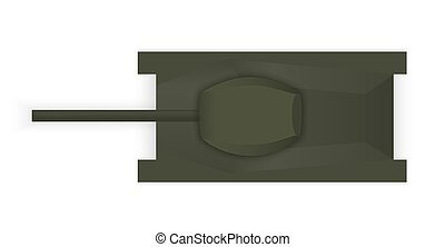 Silhouette of a military tank view from above. Vector Illustration