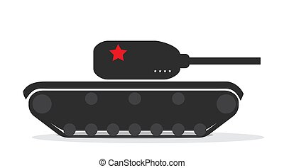Silhouette of a military tank with stars. Vector Illustration