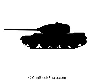 silhouette of a military tank