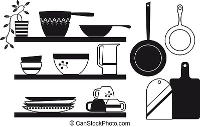 Silhouette of a modern minimalistic kitchenware - Modern ...