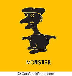Silhouette of a monster on a yellow background