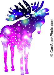 Silhouette of a Moose with space galaxy effect