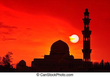 Beautiful sun setting at Floating Mosque, Terengganu, Malaysia.