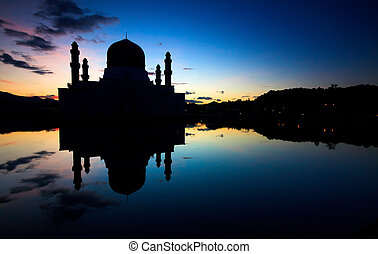 Silhouette of a mosque in Borneo - Silhouette of a mosque in...