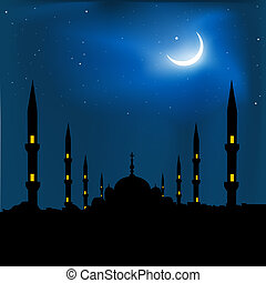 silhouette of a mosque with crescent shape moon