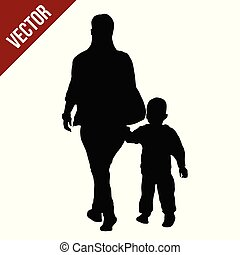 Silhouette of a mother walking by the hand with her son