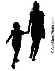 Silhouette of a mother with her daughter