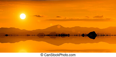 Silhouette of a mountain at the lake
