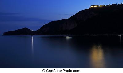 silhouette of a mountain chain on the island korfu in the mediterranean sea