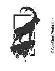 Silhouette of a mountain goat.