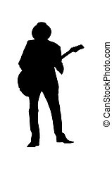 Silhouette of a musician in a hat with a guitar. Simple design