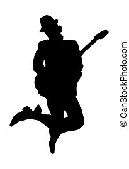 Silhouette of a musician with a guitar in the jump. Simple design