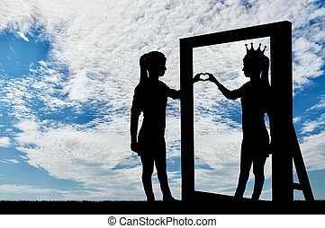 Silhouette of a narcissistic woman with a crown on her head and a hand gesture of the heart in reflection in the mirror.