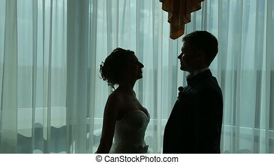 Silhouette of a Newlywed Couple - silhouette of a newlywed...