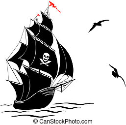 Silhouette of a old sail pirate ship and two gulls - A...