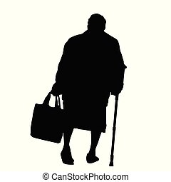Silhouette of a old woman with cane