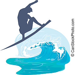 Silhouette of a person surfing in the sea