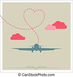 Silhouette of a plane with heart