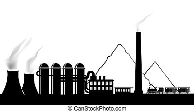 Silhouette of a power plant.