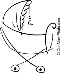 Silhouette of a pram decorated with the crescent moon hangings, vector or color illustration