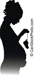 silhouette of a pregnant girl with shoes
