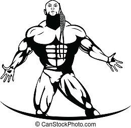 Silhouette of a pro bodybuilder
