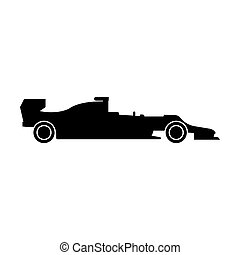 Silhouette of a racing car the black color icon .