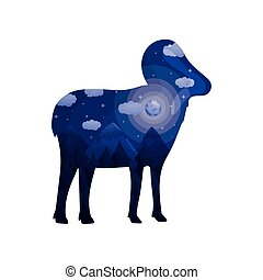 Silhouette of a ram with a landscape inside. Vector illustration on white background.