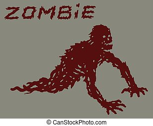 Silhouette of a red crawling zombie