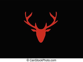 silhouette of a red deer head on a dark background