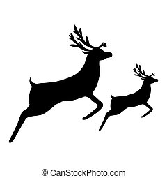silhouette of a reindeer with a cub