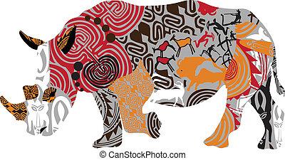 silhouette of a rhinoceros in ethni - rhino in Africa, ...
