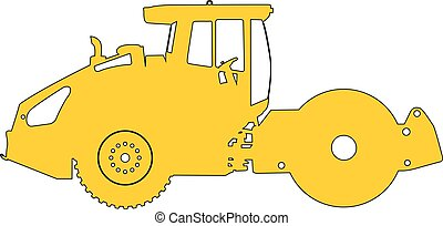 Silhouette of a road roller. Vector illustration