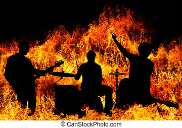 Silhouette of a rock band over blazing flames explosion...