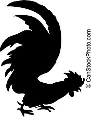 Silhouette of a rooster-vector