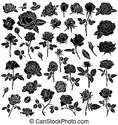 Silhouette of a rose flower big set