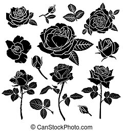 Silhouette of a rose flower set