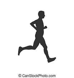 Silhouette of a running athlete. Flat vector icon isolated on a white background