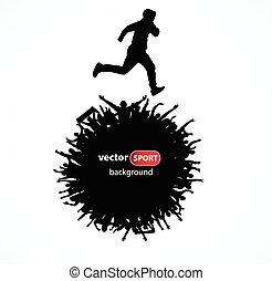 Silhouette of a running man. Poster
