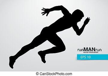 Silhouette of a running man.