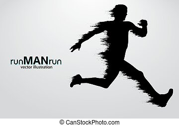 Silhouette of a running man. vector illustration