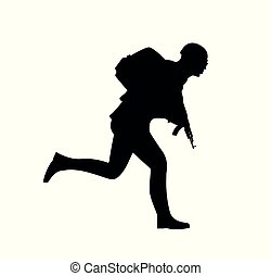 Silhouette of a running soldier