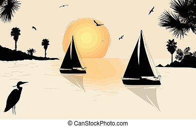 Silhouette of a sailingboats at the sea on beautiful sunset
